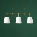 Simple Style Bucket Island Fixture Fabric 3 Lights Flaxen/Green/White Pendant Light for Restaurant