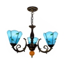 Blue Cone Shade Chandelier 3 Lights Rustic Style Glass Hanging Lamp with Leaf for Bedroom