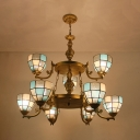 Tiffany Style Dome Shade Chandelier 9 Lights Glass Metal Pendant Lamp in Brass for Living Room
