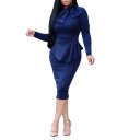 Women's Solid Color Bow Collar Long Sleeve Ruffle Slim Fit Midi Pencil Dress
