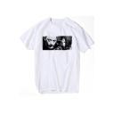 Cool Film Killer Character Printed White Round Neck Short Sleeve Tee
