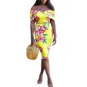 Sexy Off the Shoulder Floral Print Yellow Midi Bodycon Pencil Dress