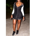 Women's Striped Patched V Neck Long Sleeve Zip Front Mini Bodycon Dress