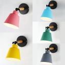 Bucket Dining Room Wall Lamp Metal 1 Light Modern Macaron Color Sconce Light with Adjustable Angle