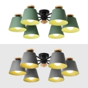 Tapered Dining Room Semi Flush Light Metal 6 Lights Simple Style Ceiling Lamp in Green/Gray