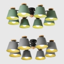 Metal Tapered Semi Ceiling Mount Light Living Room 8 Lights Modern Overhead Light in Green/Gray