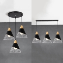 Metal Cone Ceiling Lamp with Linear/Round Canopy 3 Lights Industrial Ceiling Light in Black