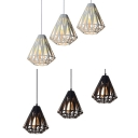 Restaurant Diamond Pendant Light Metal 3 Lights Industrial Hanging Light Black/White Suspension Light