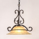 Beige Bell Shade Hanging Lamp 1 Light Antique Style Frosted Glass Ceiling Light for Bathroom