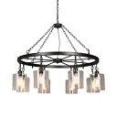 Industrial Cylinder Pendant Lamp Clear Glass 6/8 Lights Black Chandelier with Wheel for Bar