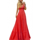 Summer Trendy V-Neck Sleeveless Plain Maxi Swing Cami Evening Dress For Women