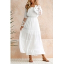 Women's Elegant Off The Shoulder Long Sleeve Plain Lace Patch Midi A-Line White Dress