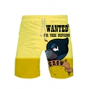 Guys Cool Cartoon Crow Letter Printed Drawstring Waist Yellow Sport Sweat Shorts