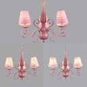 Kids Tapered Shade Chandelier 3 Lights Fabric Pendant Light in Pink for Girl Bedroom
