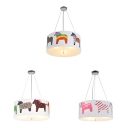 Contemporary Drum Pendant Lamp with Pony 5 Lights Fabric Suspension Light in White for Kid Bedroom