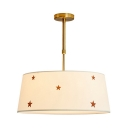 White Drum Shade Pendant Light with Star Simple Style Fabric Hanging Light for Bedroom Foyer