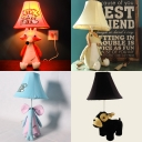 1 Light Toy Animal Desk Lamp Lovely Fabric Reading Light in Beige/Black/Blue/Pink for Kid Bedroom