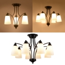 White Tapered Shade Chandelier 3/6/8 Lights Traditional Frosted Glass Hanging Lamp for Hallway Restaurant