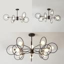 Metal Ring Pendant Light 6/8/12 Lights Creative Hanging Lamp in Black for Bedroom Study Room