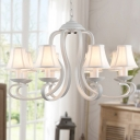 White Tapered Shade Pendant Light 3/6/8 Lights American Rustic Metal Chandelier for Bedroom Foyer