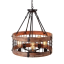 Rustic Style Drum Pendant Light with Wire Frame Wood 5 Lights Brown Chandelier for Cottage