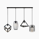 Industrial Black Pendant Light with Cage 4 Lights Metal Ceiling Lamp for Living Room Cafe