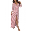 Hot Fashion V-Neck Long Sleeve Stripes Printed Button-Front Split Side Maxi Shirt Dress