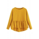 New Trendy Plain Round Neck Raglan Sleeve Ruffle Asymmetric Hem Sweatshirt