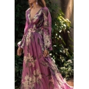 Women's Elegant V-Neck Long Sleeve Floral Printed Length Floor Swing Purple Dress
