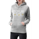 HOW TO PICK UP CHICKS Letter Cartoon Figure Printed Long Sleeve Drawstring Hoodie with Pocket