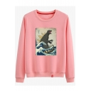 Cartoon Sea Dinosaur Book Print Round Neck Long Sleeve Sweatshirt