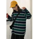Colorblock Striped Round Neck Long Sleeve Cotton Sweatshirt
