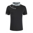 Guys Trendy PU Patched Button Embellished Short Sleeve Funnel Neck Fitted T-Shirt