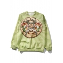 Cool Gemini Printed Basic Crewneck Long Sleeve Casual Loose Green Sweatshirt
