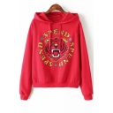 Letter SPEND Tiger Head Printed Long Sleeve Relaxed Fit Hoodie