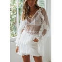 Girls Summer Holiday White Fashion Tied V-Neck Long Sleeve Lace Mesh Mini Dress Beach Swimwear Cover Up
