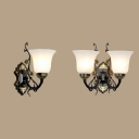 White Bell Shade Wall Light 1/2 Lights Traditional Frosted Glass Sconce Lamp with Flower for Bathroom