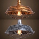 Vintage Barn Hanging Light with Cage Metal 1 Light Bronze/Silver Suspension Light for Bar