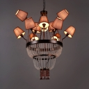 Traditional Tapered Shade Chandelier Metal 12 Lights Black Hanging Lamp with Crystal for Villa