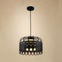 Metal Crown Pendant Lamp 1 Light Vintage Style Suspension Light in Black for Shop Cafe