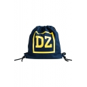 Simple DZ Letter Print Big Capacity Canvas Drawstring Backpack for Girls 34*34*1 CM