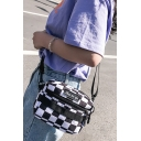 Stylish Plaid Pattern Letter Patched Black and White Crossbody Shoulder Bag 17.5*5*14 CM