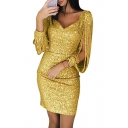 Sexy V-Neck Hollow Out Tassel Long Sleeve Womens Mini Sheath Sequined Club Dress
