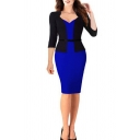 New Trendy Sexy V-Neck Three-Quarter Sleeve Fake Two-Piece Office Lady Midi Pencil Dress
