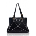 Hot Fashion geometric luminous Printed Black Shoulder Handbag 43*6*30 CM