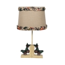 Living Room Butterfly Desk Lamp Linen 1 Light Rustic Style Beige LED Reading Lighting