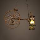 Old American Car Restaurant Chandelier Metal 2 Light Antique Kerosene Hanging Light in Aged Brass