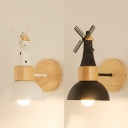 Black/White Dome Wall Light with Windmill 1 Light Nordic Style Wood Sconce Light for Corridor