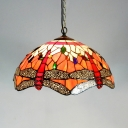 Tiffany Style Dragonfly Pendant Light with Dome Shade 1 Light Stained Glass Hanging Light for Hotel