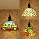 Bead/Dragonfly/Leaf Bedroom Pendant Light Glass 1 Light Tiffany Style Vintage Pendant Lamp